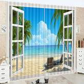 LB Teen Kids Decor Collection,2 Panels Room Darkening Blackout Curtains,The Beach Scenery Curtains 3D Effect Print Window Treatment Curtains Living Room Bedroom Window Drapes,80 x 63 Inches