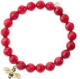 Sydney Evan Jewelry 8mm Faceted Red Agate Beaded Bracelet with 14k Gold/Diamond Bee Charm (Made to Order)