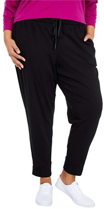 Eileen Fisher Plus Size Organic Cotton Stretch Jersey Slouchy Ankle Joggers (Black) Women's Casual Pants