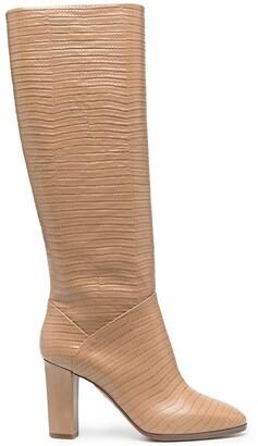 Aquazzura Snakeskin-Effect Block Heel Boots