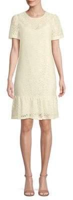 MICHAEL Michael Kors Ruffled-Hem Lace Tee Dress