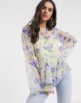 Asos Design DESIGN flared sleeve sheer top in neon floral print