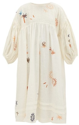 Story mfg. Mon Embroidered Linen And Cotton Midi Dress - White Multi