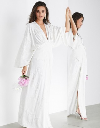 ASOS EDITION Luna embroidered satin kimono wedding dress