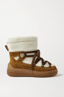 Moncler Florine Suede And Shearling Snow Boots - Tan