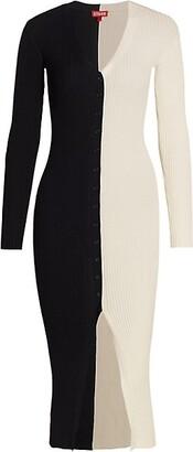 STAUD Shoko Colorblock Sweater Dress