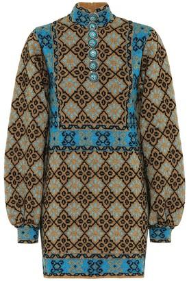 Gucci Lame GG wool-blend minidress