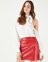 Fashion Union Cold Shoulder Tie Neck Top