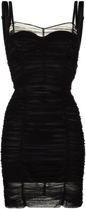 Dolce & Gabbana Ruched-Design Sheer Mini Dress