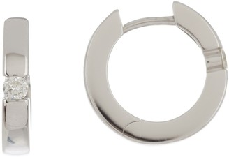 Breuning 14K White Gold Diamond Huggie Hoops - 0.12 ctw