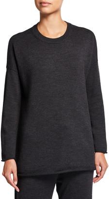 Eileen Fisher Plus Size Crewneck Wool Tunic Sweater