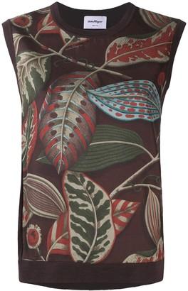 Salvatore Ferragamo Foliage Pattern Sleeveless Top