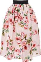 Dolce & Gabbana Rose Organza Midi Skirt