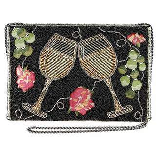 Mary Frances Wine Not Beaded Crossbody Clutch Handbag