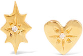 SCOSHA - Nova And Classic Heart Gold-plated Diamond Earrings - one size