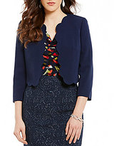 Kasper Stretch Crepe Scalloped 3/4 Sleeve Jacket