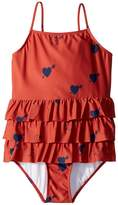 Mini Rodini Heart Frill Swimsuit Girl's Swimsuits One Piece