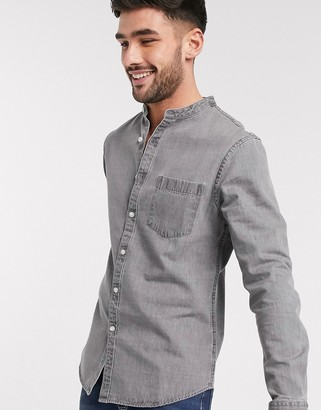 New Look long sleeve grandad denim shirt in gray