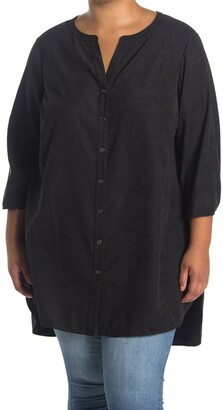 Dr2 By Daniel Rainn Button Front Long Sleeves Tunic Blouse
