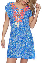 Nautica Cottage Paisley Lace-Up Tunic Cover-Up