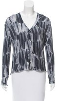 Lucien Pellat-Finet Button-Up Feather Print Cardigan