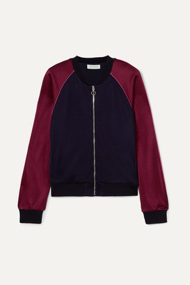 Ninety Percent Two-tone Satin-jersey Bomber Jacket - Navy
