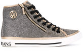 Armani Jeans metallic hi-tops - women - Cotton/Leather/Synthetic Resin/rubber - 37