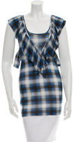Torn By Ronny Kobo Plaid Ruffle-Accented Top