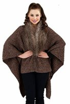 Boutique 9 Ladies wrap cape poncho shawl faux fur collar knitted