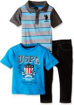 U.S. Polo Assn. Little Boys 3 Piece Short Sleeve Polo Shirt, T- Shirt and Denim Jean