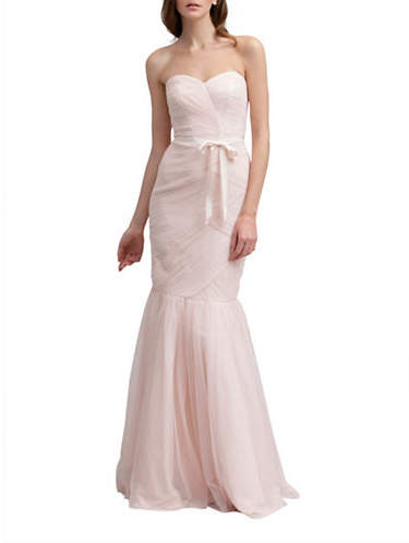 Monique Lhuillier Bridesmaids Strapless Tulle Trumpet Gown