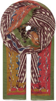 Etro Aztec Print Silk-linen-blend Scarf