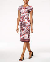 ECI Floral-Print Scuba Sheath Dress