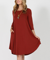 Dark Rust Three-Quarter Sleeve Side-Pocket Swing Tunic Dress