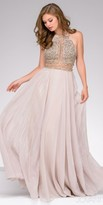 Jovani Halter Beaded Low Back Evening Dress
