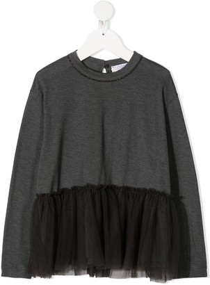 BRUNELLO CUCINELLI KIDS tulle detail T-shirt