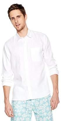 Isle Bay Linens Mens Linen Cotton Slim-Fit Long Sleeve Casual Shirt