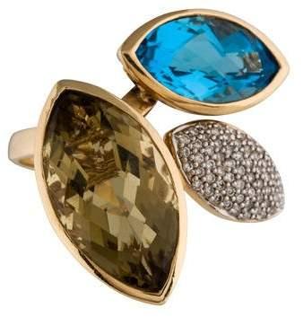 Effy Jewelry 14K Blue Topaz, Citrine & Diamond Ring