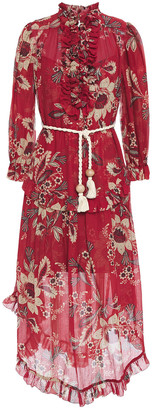 Zimmermann Ruffled Floral-print Cotton And Silk-blend Gauze Midi Dress