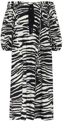 Dries Van Noten Zebra cotton midi dress