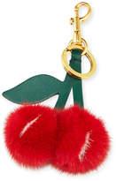 Anya Hindmarch Mink Fur Cherry Key Chain/Bag Charm, Red