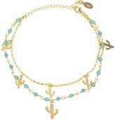 Latelita Turquoise Cactus Double Strand Bracelet Gold