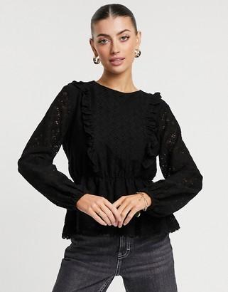 Vero Moda peplum lace blouse with balloon sleeves in black