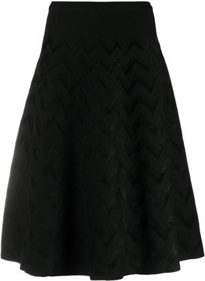 D-Exterior Zig-Zag Knit Midi Skirt