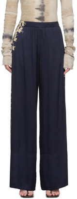 Raquel Allegra Navy Tie-Dye Wide Hem Lounge Pants