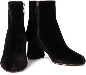 Red(V) Cotton-velvet Ankle Boots