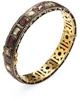 Artisan 18K Gold, Ruby & 3.59 Total Ct. Diamond Bangle Bracelet