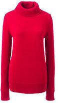 Lands' End Women's Classic Cashmere Turtleneck Sweater-Bavarian Creme Fairisle Stripe