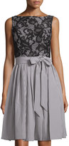 Maggy London Lace Bodice Fit-and-Flare Dress, Black/White