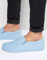 Asos Slip On Sneakers In Powder Blue